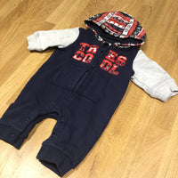 'Tres Cool' Navy & Grey Thick Jersey Romper - Newborn