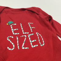 'Elf Sized' Red Long Sleeve Bodysuit - Boys/Girls Newborn - Christmas