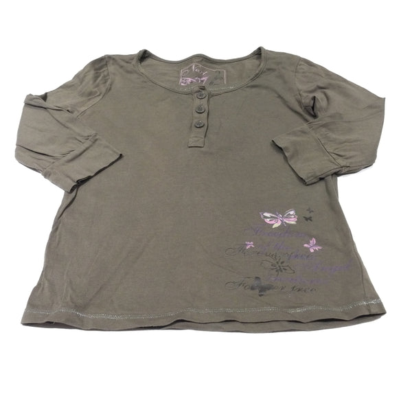 Butterflies Brown 3/4 Length Sleeve Top - Girls 6-7 Years