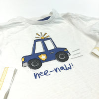 'Nee-Naw' Police Car Cream Long Sleeve Top - Boys 9-12m
