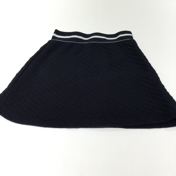 Black Quilted Jersey Skirt - Girls 7-8 Years