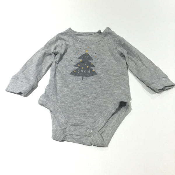 'Let It Snow' Christmas Tree Grey Long Sleeve Bodysuit - Boys/Girls Newborn - Up To 1 Month - Christmas