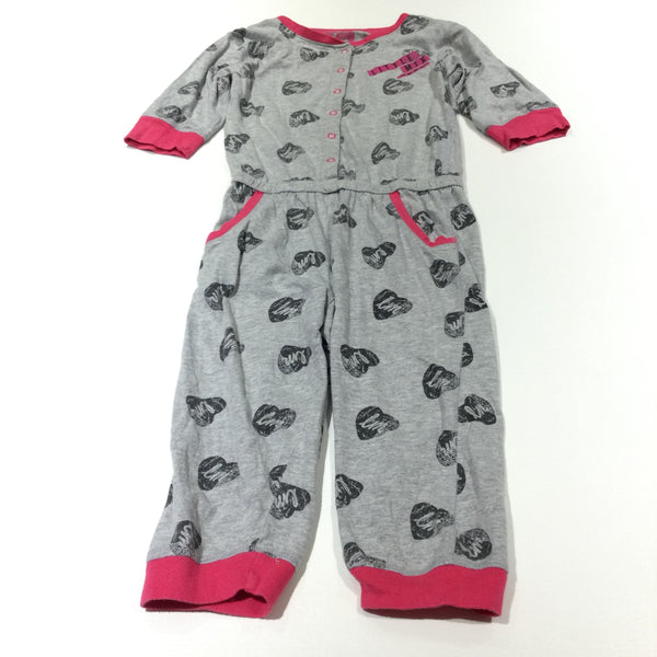 'Little Mix' Hearts Grey & Pink Jersey Onesie with 3/4 Sleeves & Cropped Legs - Girls 7-8 Years