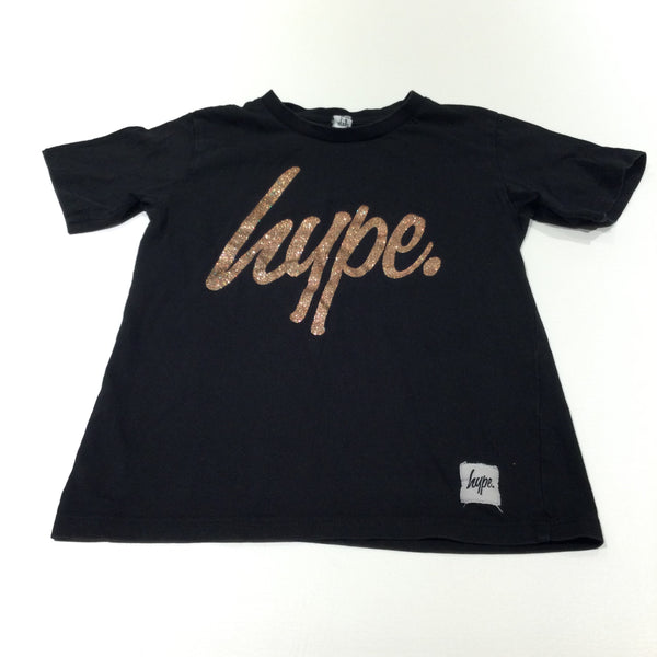 'Hype' Glittery Gold & Black T-Shirt - Girls 7-8 Years