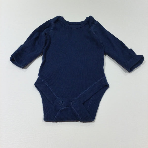 Navy Ribbed Long Sleeve Bodysuit with Integrated Mitts - Boys Newborn