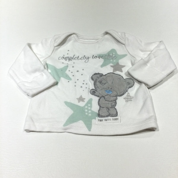 'Completely Loveable' Tiny Tatty Teddy White Long Sleeve Top with Integrated Mitts - Girls/Boys 0-3 Months
