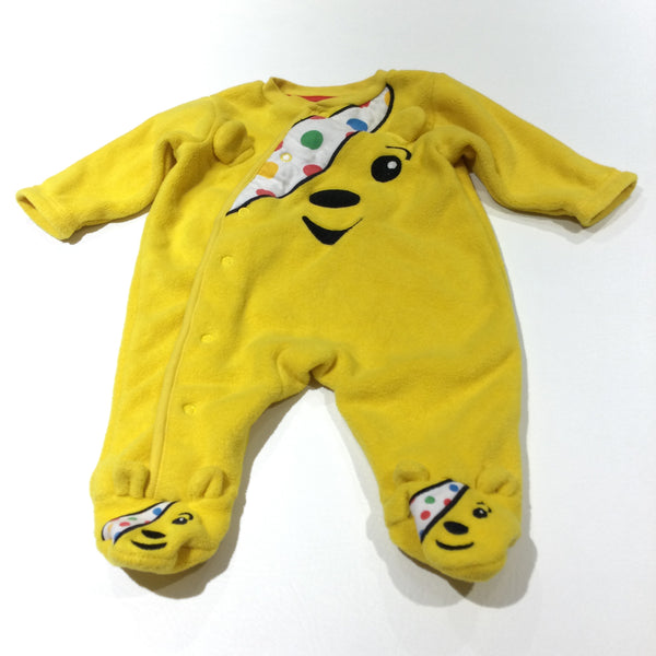 Pudsey Bear Yellow Lightweight Fleece Pramsuit - Girls/Boys 0-3 Months