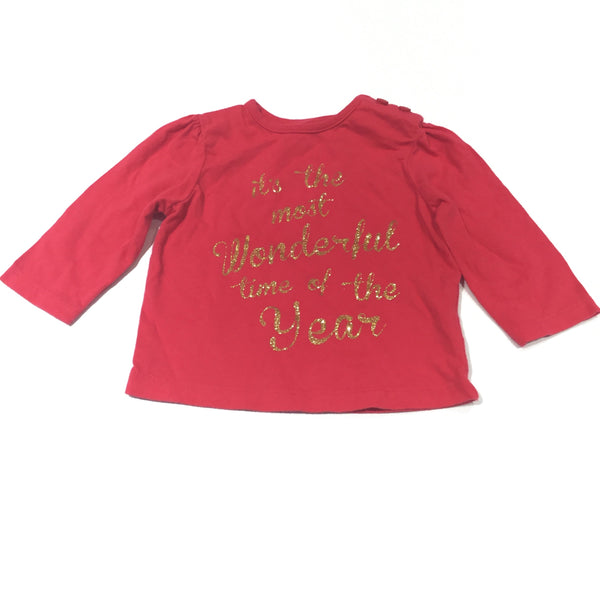 'It's The Most Wonderful Time Of The Year' Glittery Dark Pink Long Sleeve Top - Girls 0-3 Months - Christmas