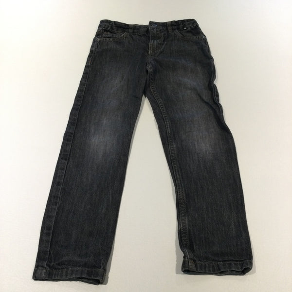 Grey/Black Denim Jeans with Adjustable Waistband - Boys 7-8 Years