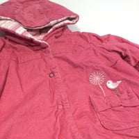 Embroidered Bird & Flower Pink Padded Corduroy Jacket with Hood - Girls 3-6m