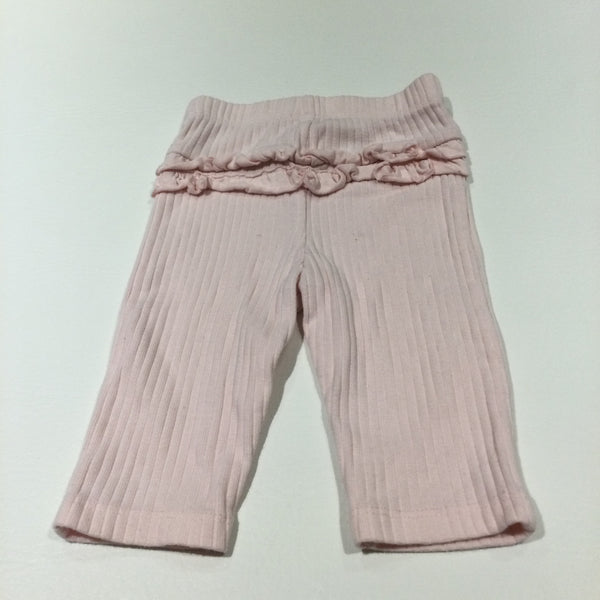 Pink Ribbed Leggings with Frilly Bottom - Girls 3-6 Months