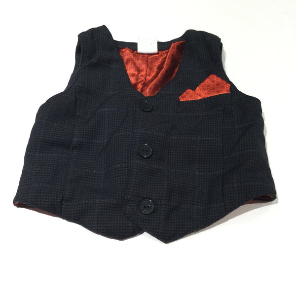 Black Checked Waistcoat with Orange Faux Handkerchief - Boys 4-6 Months