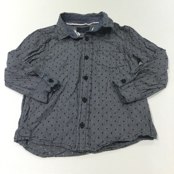Patterned Navy & White Checked Cotton Shirt - Boys 2-3 Years
