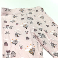 Rabbits, Books, Air Balloon & Houses Pink Leggings - Girls 6-9 Months