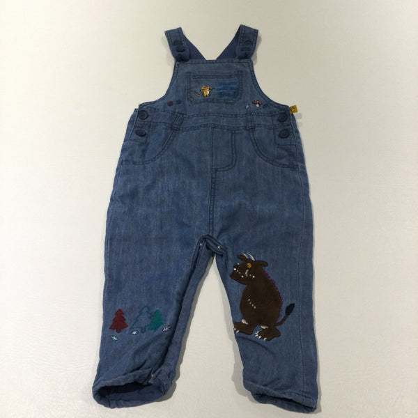'Don't Call Me Good' Gruffalo & Mouse Mid Blue Lined Cotton Dungarees - Boys 9-12 Months