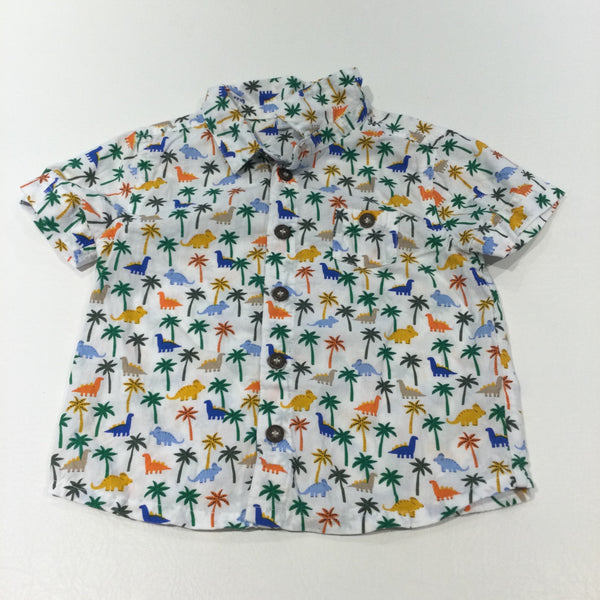 Dinosaurs & Palm Trees Colourful White Cotton Shirt - Boys 6-9 Months