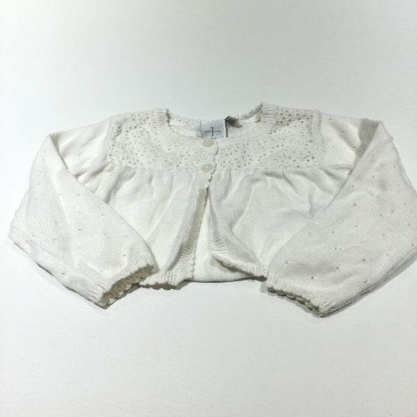 Cream Lightweight Knitted Cardigan with Broderie Detail - Girls 6-9 Months