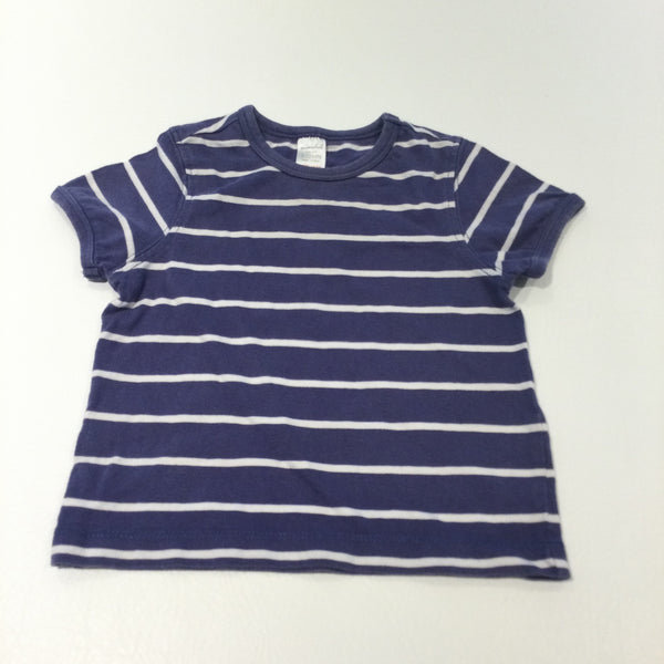 Navy & White Striped T-Shirt - Boys/Girls 9-12 Months