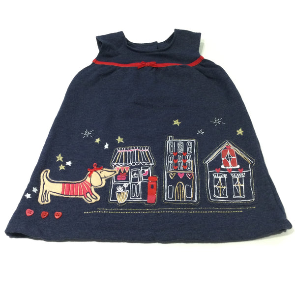 Sausage Dog Appliqued Glitter Navy & Red Jersey Pinafore Dress - Girls 12-18 Months