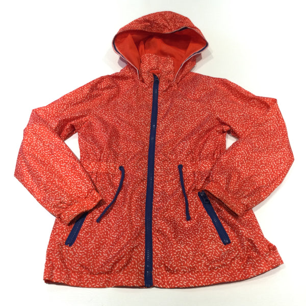 Red, White & Navy Speckled Lightweight Showerproof Jacket with Hood - Girls 7-8 Years