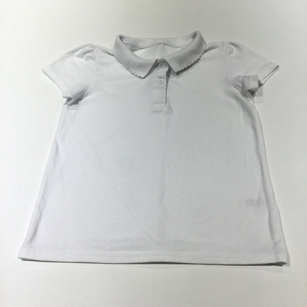 White School Polo Shirt with Scalloped Collar - Girls 9 Years