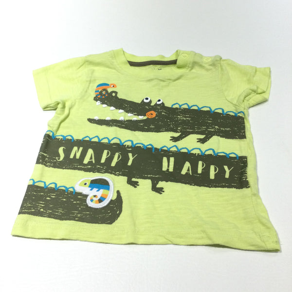 'Snappy Happy' Crocodile Yellow T-Shirt - Boys 9-12 Months