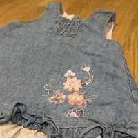 Flower Embroidered Denim Effect Lined Cotton Dress - Girls 0-3m