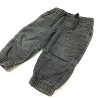 Grey/Black Lightweight Denim Pull On Jeans - Boys 9-12 Months