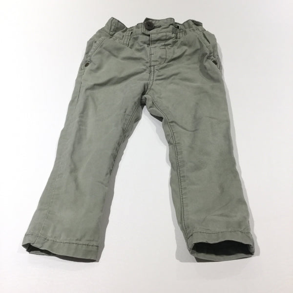 Light Khaki Green Cotton Twill Trousers with Adjustable Waistband - Boys 9-12 Months