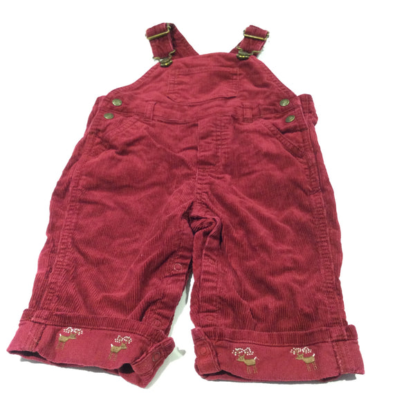Burgundy Thick Corduroy Dungarees with Deer Embroidered Turn Ups - Boys 6-9 Months