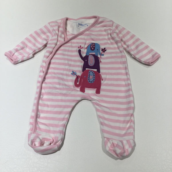 Elephants Appliqued Pink & White Striped Babygrow with Integrated Mitts - Girls Newborn