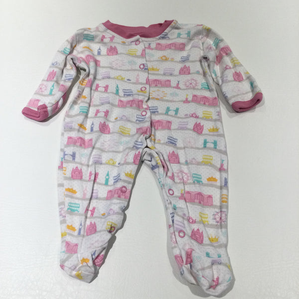 Buses, Buildings & Ferris Wheels White & Pink Babygrow with Integrated Mitts - Girls Newborn