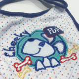 'Cheeky Pup' Dog Appliqued Colourful Spotty White & Navy Bib - Boys 6-9 Months
