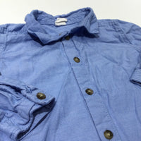Blue Cotton Long Sleeve Shirt - Boys 12-18 Months