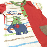 'Born To Be Wild' Elephant & Rhino Appliqued Red & White Short Romper - Boys 6-12 Months