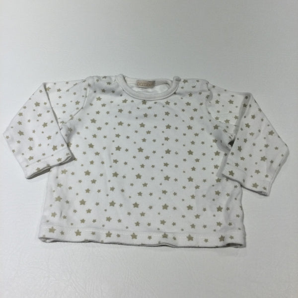White & Beige Stars Long Sleeve Top - Boys/Girls 3-6 Months