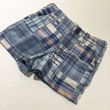 Blue, White & Peach Checked Cotton Shorts - Boys 6-12 Months