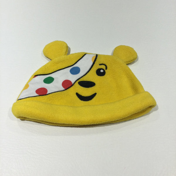 Pudsey Bear Yellow Fleece Hat with Ears - Boys/Girls 3-6 Months