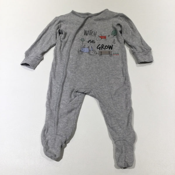 'Watch Me Grown' Tractor & Trees Grey Babygrow - Boys 6-9 Months