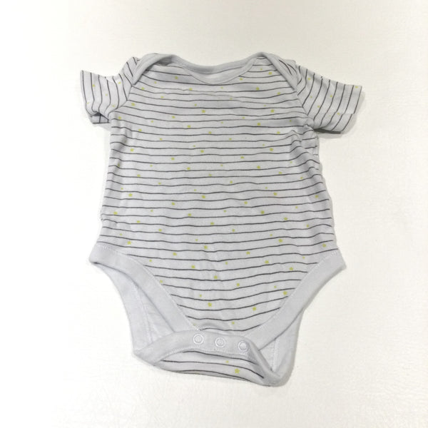 Yellow Stars Grey & White Striped Short Sleeve Bodysuit - Boys/Girls 6-9 Months