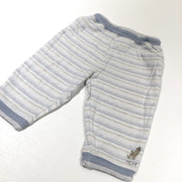 Dog Motif Grey, Yellow, White & Blue Striped Lightweight Tracksuit Bottoms - Boys 6-9 Months