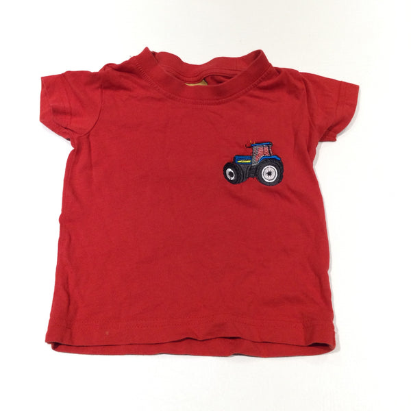 Tractor Embroidered Red T-Shirt - Boys 6-9 Months