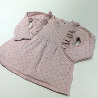 Pink Knitted Dress with Silver Spots & Frill Detail - Girls 9-12 Months