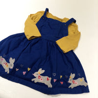 Rabbits & Hearts Embroidered Blue Cotton Dungaree Dress & Yellow Long Sleeve Top Set - Girls 6-9 Months