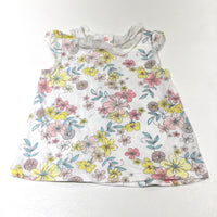 Pastel Flowers White T-Shirt with Lacey Collar - Girls 6-9 Months