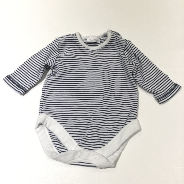 Navy & White Striped Long Sleeve Bodysuit - Boys 0-3 Months