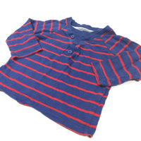 Red & Navy Striped Mock Layered Long Sleeve Top - Boys 6-9m