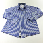 Bulldog Motif Blue & White Striped Cotton Shirt - Boys 3-4 Years