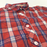 Red, White & Blue Checked Short Sleeve Cotton Shirt - Boys 2-3 Years