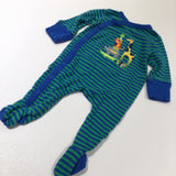 'Tiger, Rhino, Crocodile, Giraffe' Appliqued & Embroidered Blue & Green Striped Babygrow with Integrated Mitts - Boys 3-6 Months
